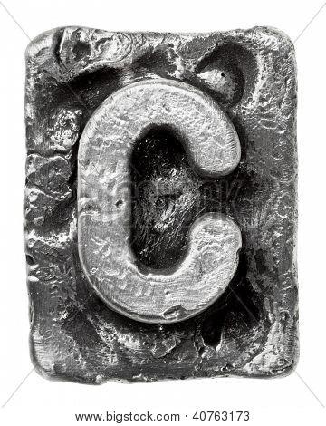 Metal alloy alphabet letter C