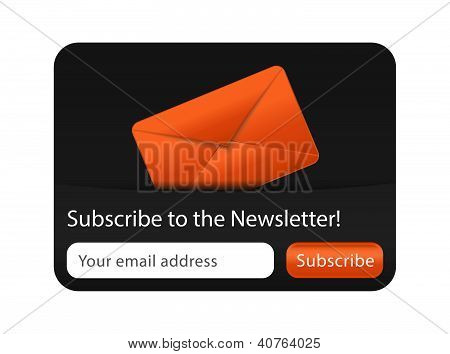Newsletter Form With Orange Envelope