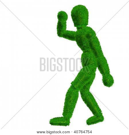 High resolution conceptual 3D human or man covered in green fresh grass or leaves isolated on white background