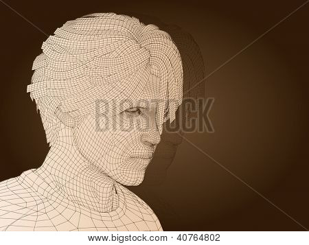 3D man or human head made of beige wireframe or mesh isolated on brown background