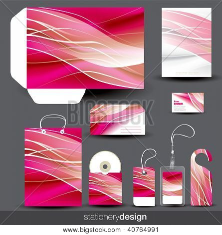 Pink stationery design set. Vector format in portfolio.