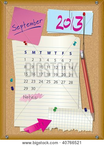 2013 Calendar - Month September - Cork Board With Notes
