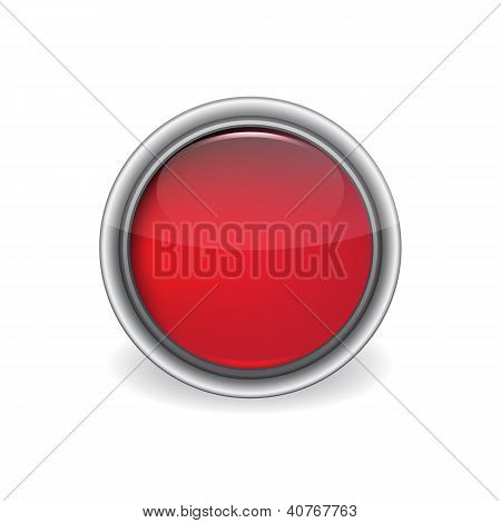 Vector Shiny Red Button
