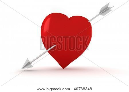 3d arrow and  a big red heard, Vaentine's Day concept