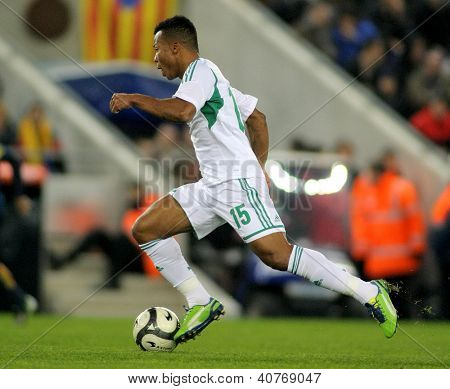 BARCELONA - JAN, 2: Nigerian player Ikechukwu Uche in action during the friendly match between Catalonia and Nigeria at Estadi Cornella on January 2, 2013 in Barcelona, Spain