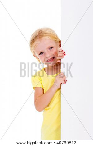 beautiful little girl behind white board