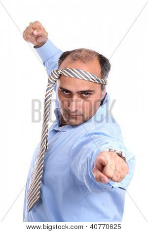 silly businessman over white background