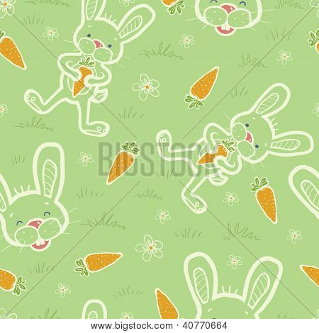 Bunnies eating carrots seamless pattern background