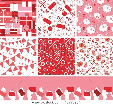 Set of seven sale and shopping seamless patterns backgrounds