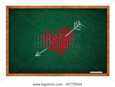 Heart And Arrow On Green Chalkboard