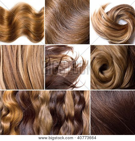 Collage from photos of natural human hair