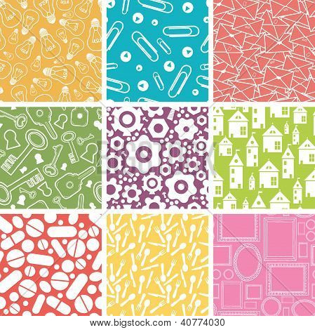 Set of nine household objects seamless patterns backgrounds