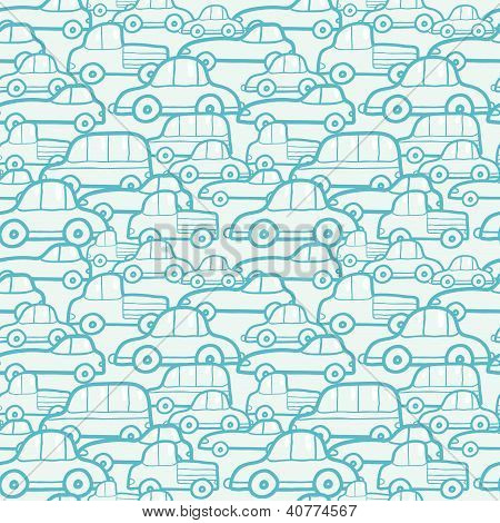 Doodle cars seamless pattern background