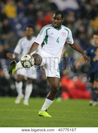 BARCELONA - JAN, 2: Nigerian player Fegor Ogude in action during the friendly match between Catalonia and Nigeria at Estadi Cornella on January 2, 2013 in Barcelona, Spain