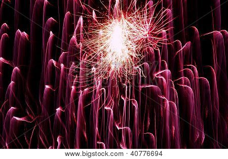 Violet Fireworks With Black Sky.