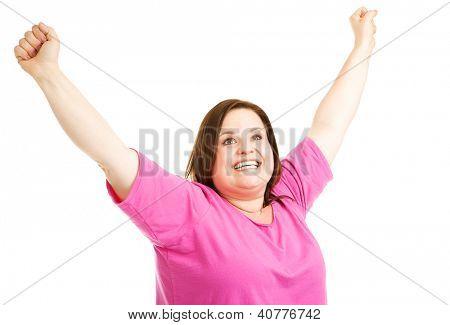 Tamaño más bonita mujer muy contento a alcanzar sus objetivos de fitness.  Aislado en blanco.