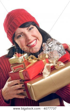Attractive Woman Holds Gifts