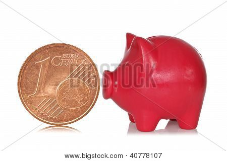 Piggy Bank And One Eurocent