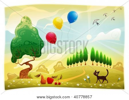 Landscape with cat. Funny cartoon raster scene