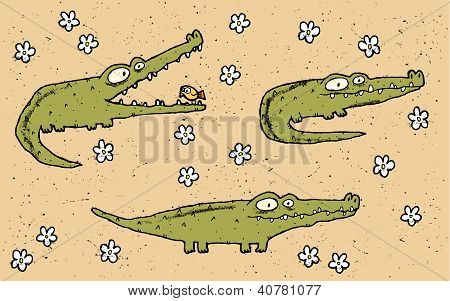 three cute crocodiles