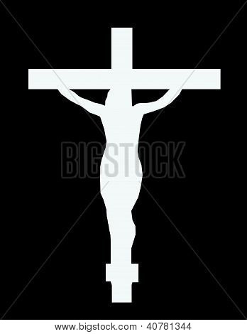 White Cross On The Color Wall Of The Temple
