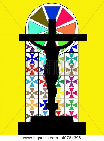 Black Cross On The Colorful Cristal Wall In Temple