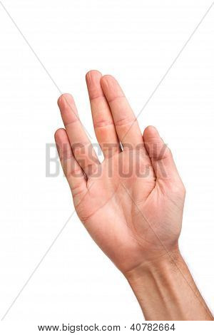 Male Palm Hand Vulcan Gesture, Isolated On White