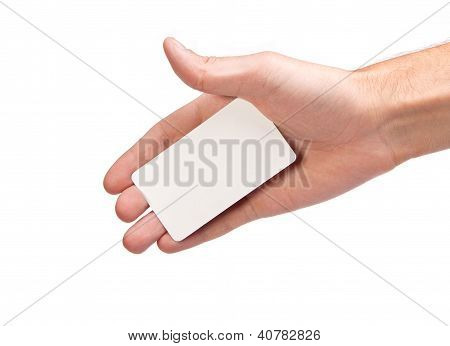 Businessman's Hand Holding Blank Business Card