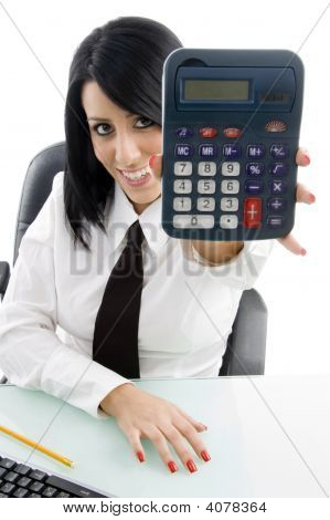 Young Woman Showing Calculator