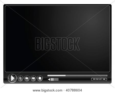 media video black player- vector illustration