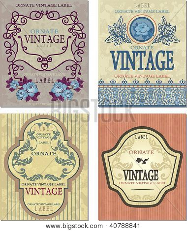 Vector collection vintage and retro labels. Sticker template of decoration illustration tags