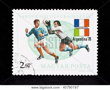 HUNGARY - CIRCA 1978:A post stamp printed in Hungary shows football players, Argentina �78 11th World Cup Soccer Championships, circa 1978.
