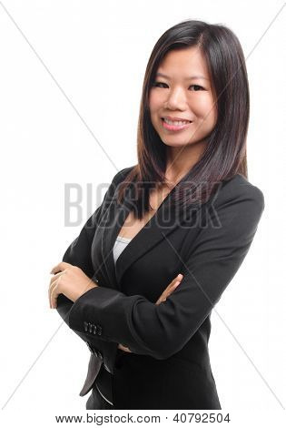 Smiling Southeast Asian Educational / Business woman over white background