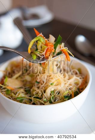 Close up Singapore fried rice noodles