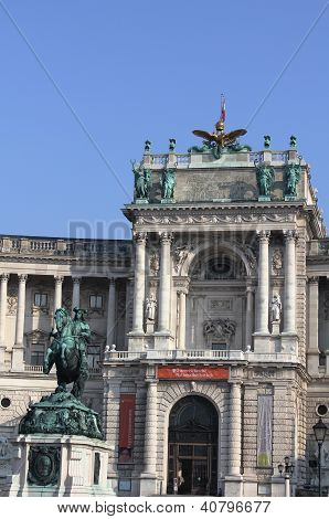 The statue of Prince Eugene of Savoy in front of  Hofburg Palace Neue Burg section,Vienna, Austria