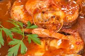 stock photo of hake  - Hake in cider sacue a northern Spanish cuisine classic