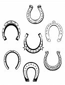 image of talisman  - Set of horseshoe icons and symbols for lucky concept design - JPG