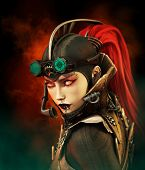 stock photo of piercings  - portrait of a girl in steampunk style - JPG