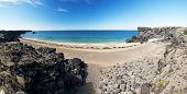 Beautiful golden beach at Drtivik - Snaefellsnes peninsula, the western of Iceland. Panoramic photo. poster