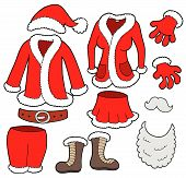 stock photo of santa claus hat  - Santa Clauses clothes collection various objects  - JPG
