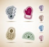 image of igloo  - All things (objects) which are related to a winter time. Pictured here left to right top to bottom:  Temperature Winter gloves Winter jacket Igloo.  Desert colors icons set contains 8 different color versions on the brown background each color placed on - JPG