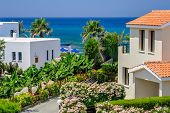 stock photo of villa  - Luxurious holiday beach villas for rent on Cyprus - JPG