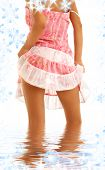 foto of upskirt  - classical upskirt picture of girl in pink dress - JPG