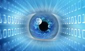stock photo of binary code  - eye casting binary code  - JPG