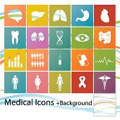 stock photo of internal organs  - Set of minimal style medical icons - JPG