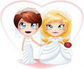 stock photo of chibi  - A vector illustration of lesbians dressed for their wedding day - JPG