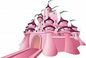 foto of fairy-tale  - An Illustration of a pink fairy tale castle - JPG