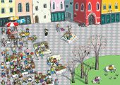 pic of hustle  - Vibrant City Square Cartoon illustration with crowds of people - JPG