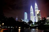 stock photo of petronas twin towers  - Night view of the Petronas Twin Tower also know as KLCC - JPG