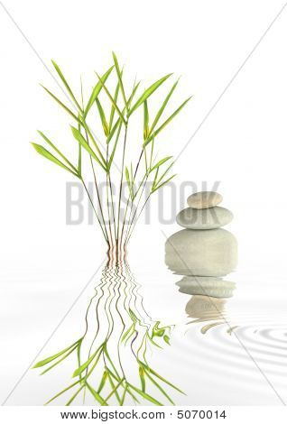 Spa Stones And Bamboo Leaf Grass